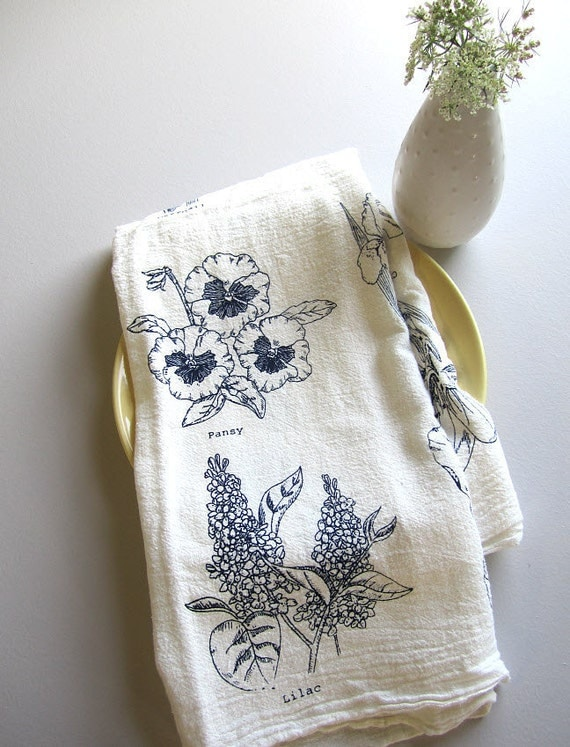 Screen Printed Organic Cotton Floral Kitchen Flour Sack Tea Towel - Great dish towel