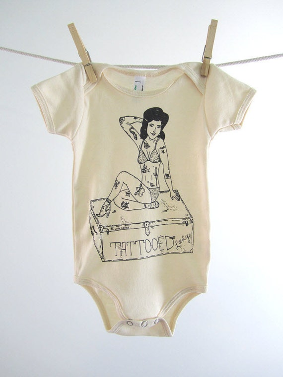 Organic Onesie - Hand Screen Printed American Apparel Baby Onesie - Circus - Tattooed Lady (You pick size)