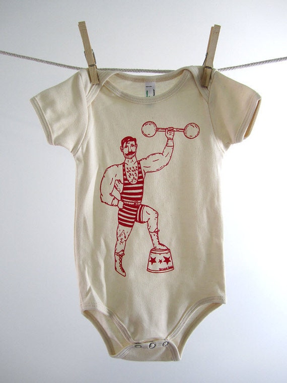 Organic Onesie - Hand Screen Printed American Apparel Baby Onesie - Vintage Circus Strong Man (You pick size)
