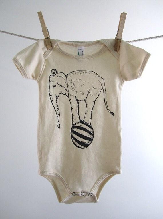 Organic Onesie - Hand Screen Printed American Apparel Baby Onesie - Circus Elephant on a Ball (You pick size)