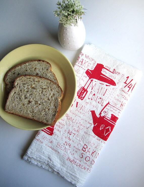 Tea Towel - Screen Printed Organic Cotton Kitchen Gadget Flour Sack Towel - Soft and Absorbent Dish Towel