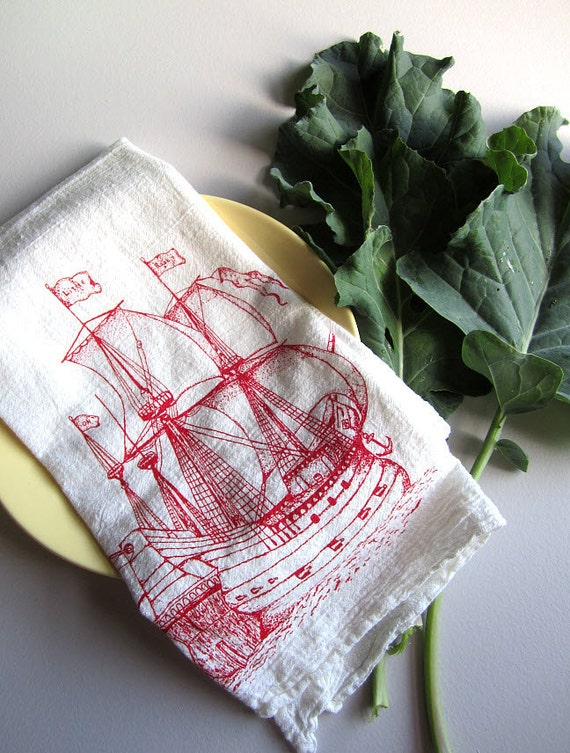 Screen Printed Organic Cotton Nautical Ship Flour Sack Tea Towel - Soft and Absorbent Hand Towel - Eco Friendly and Awesome