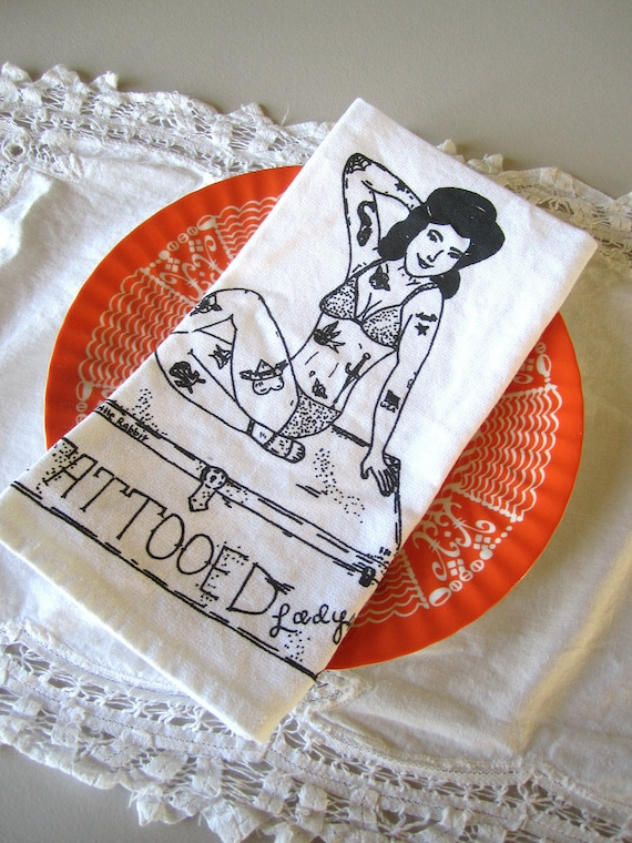 Screen Printed Organic Cotton Cloth Napkins - Eco Friendly - Vintage Circus Tattooed Lady Dinner Napkins
