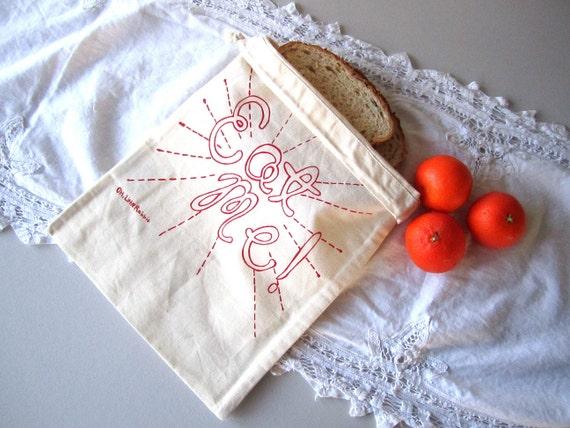 Screen Printed Reusable Natural Cotton Bag - Eat Me - Snack Bag - Eco Friendly