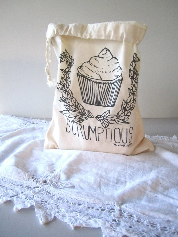 Screen Printed Reusable Natural Cotton Bag - Eco Friendly - Snack Bag