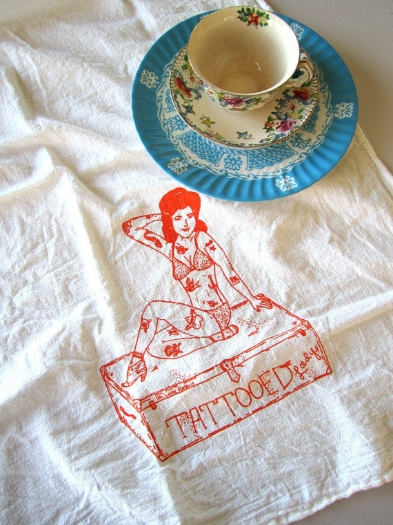 Screen Printed Organic Cotton Flour Sack Tea Towel - Vintage Circus Tattooed Lady - Unique Kitchen Towel for Dishes