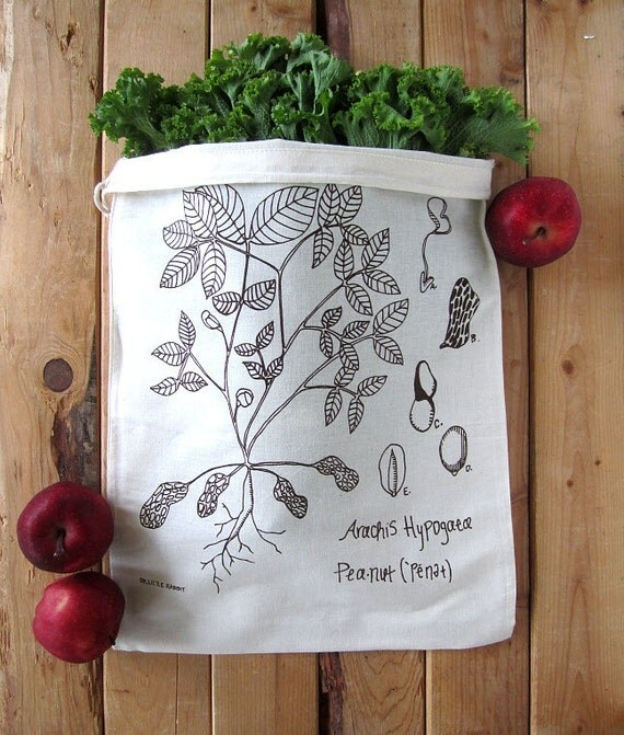 Set of 2 - Screen Printed Natural Cotton Reusable Produce Bags - Eco Friendly - Botanical Peanut Plant Illustration