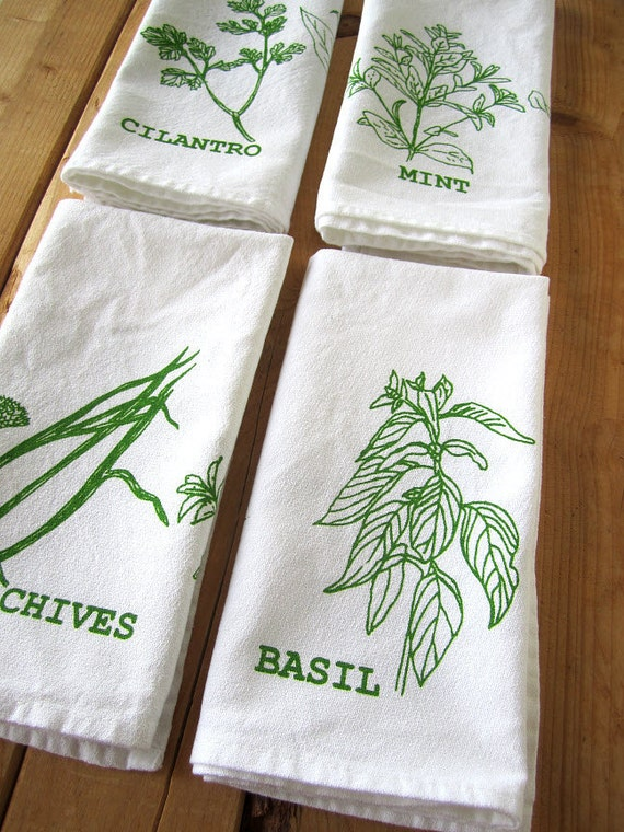 Screen Printed Organic Cotton Herbs Cloth Napkins -  Eco Friendly Dinner Napkins