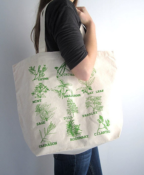 Screen Printed Oversized Recycled Cotton Tote Bag - Eco Friendly Grocery Tote - Garden Herbs - Reusable and Washable - Great for Everyday