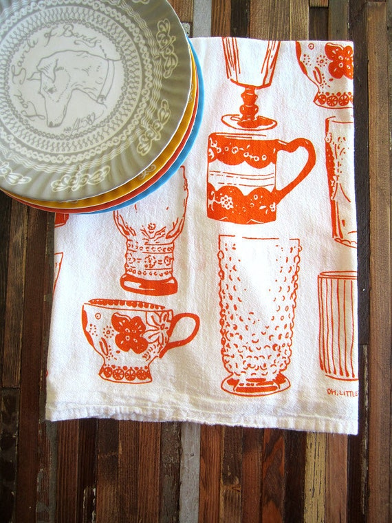 Screen Printed Organic Cotton Vintage Cups Kitchen Flour Sack Tea Towel - Eco Friendly and Awesome dish towel