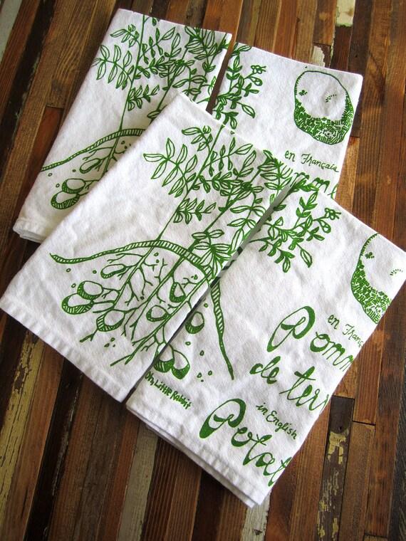 Eco Friendly Dinner Napkins - Screen Printed Organic Cotton Cloth Napkins - Washable and Reusable - Botanical Print - Potato Illustration