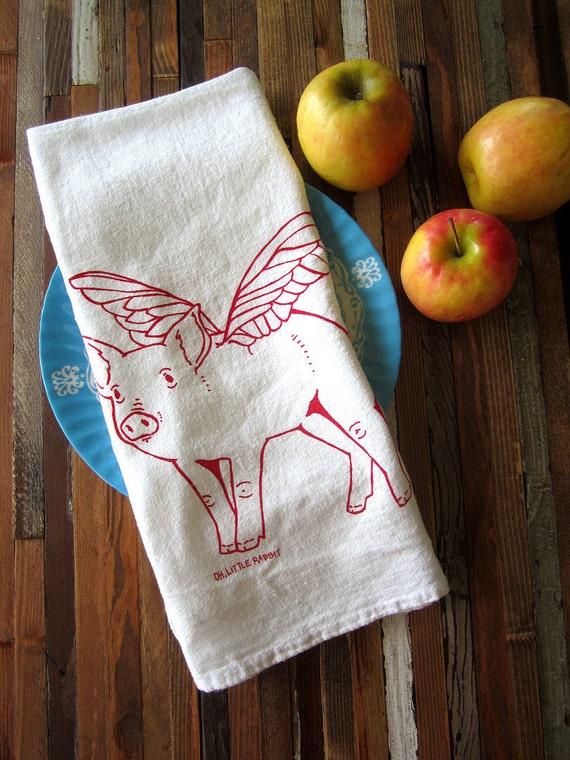 Tea Towel - Screen Printed Organic Cotton Flour Sack Towel - Eco Friendly and Awesome Dish Towel - When Pigs Fly