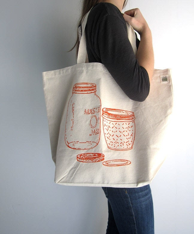 Canvas Tote Bag Screen Printed Recycled Cotton Grocery Bag