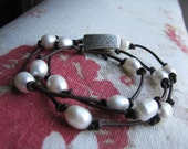 Leather and Pearl Necklace/Bracelet
