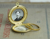 6Pcs Vintage Raw Brass Simple Round Locket Charms-25mm