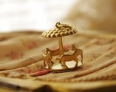 5Pcs Vintage Marry-go-round/Carousel Raw Brass Charms