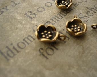 6Pcs Little Bowl Flower Pendants