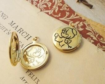 30Pcs Cute Angel Gold Plated Lockets