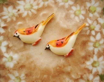 4Pcs Resin Handpainted Red Birds