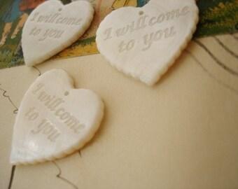 4 Pcs I Will Come To You Heart Shaped Shell Pendants