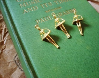30 Pcs Vintage Gold Plated On Brass 3D Ballerina Dancer Charms