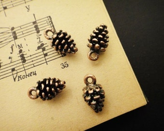 8Pcs Copper Plated Pinecone Charms
