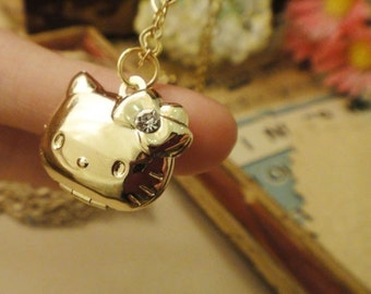 30pcs Vintage Rhinestone Hello Kitty Gold Plated Lockets