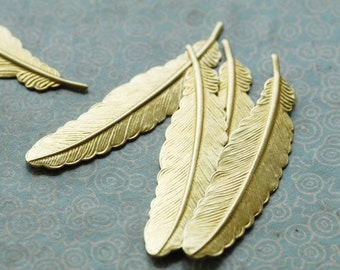 6Pcs Raw Brass Feather Stampings