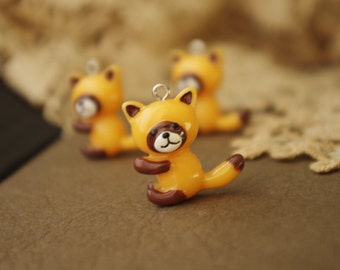 4Pcs Little Racoon Pendants