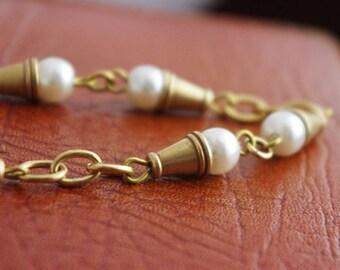 50cm  Handmade Faux Pearl Chain/Raw Brass