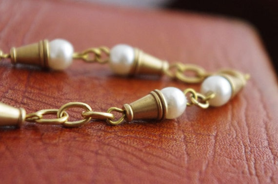 50cm  Handmade Faux Pearl Chain/Raw Brass