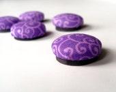 Fabric Kitchen Magnets Purple Swirls