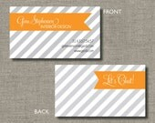 Calling Cards, Call Me Cards, Business Cards - Set of 100 - Diagonal Chic by Abigail Christine Design