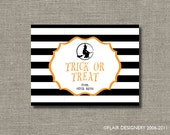 Personalized Halloween Sticker or Gift Tag - Set of 24 - Witchy Stripe by Abigail Christine Design