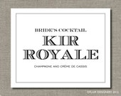 Bride's Cocktail - 8 x 10 Wedding Poster, Bar Sign, Table Sign or Art Print by Abigail Christine Design
