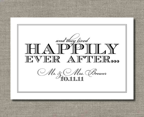 Happily Ever After - 16 x 20 Wedding Sign or Poster, Car Sign, or Art Print by Abigail Christine Design