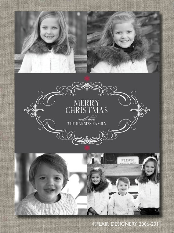 Holiday Fabulous Flourish - Printable Holiday Photo Card by Flair Designery