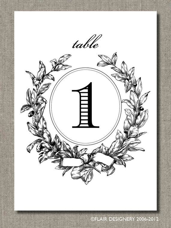Wedding Amour Table Numbers, PRINTED Set of 15 ANY COLOR for Weddings, Parties, Events and more by Abigail Christine Design