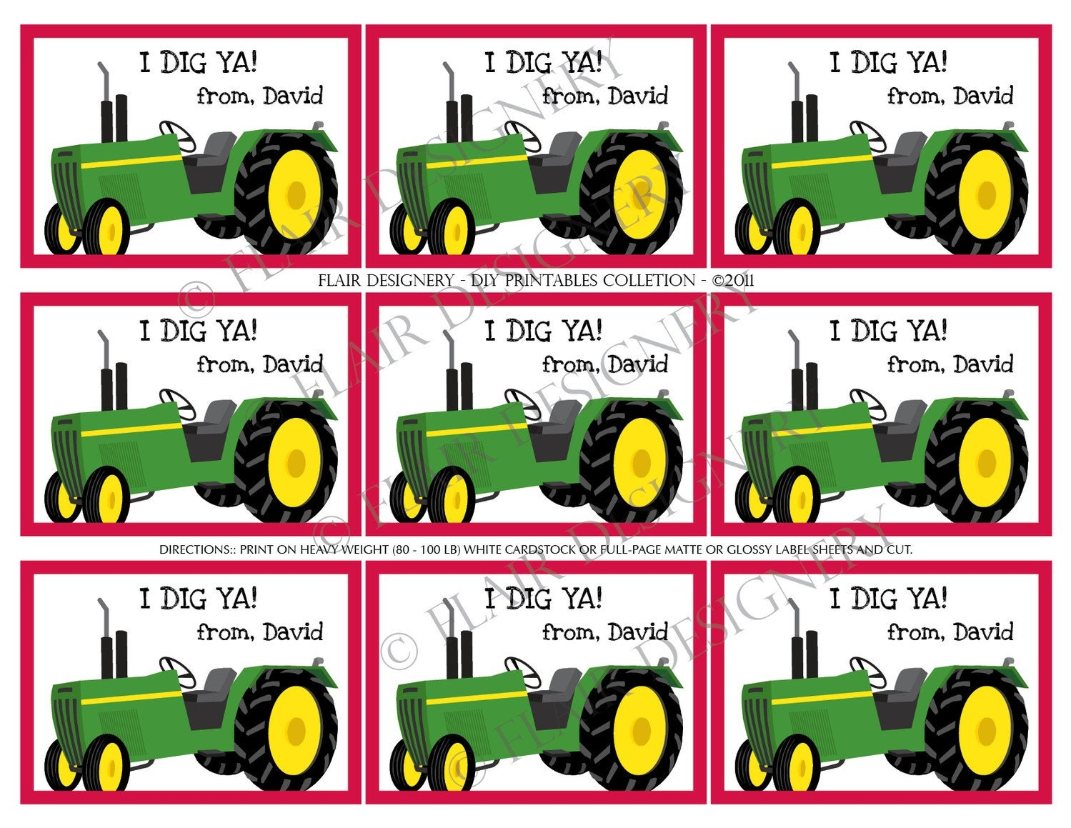 Tractor Valentine Cards : It s a big green tractor printable valentine