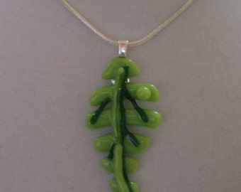 Pendant - Green Leaf with Green Dot