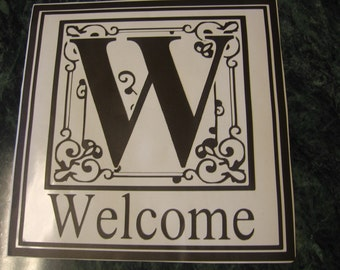 Monogrammed Welcome Vinyl Lettering Decal