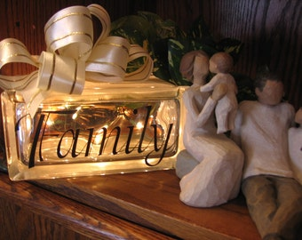 Vinyl NAME Decal/Birthdate or Word on Glass Cube - Children -  Nursery - Home Decor