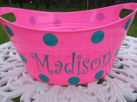 Summer - Vinyl Name Decal plus Dots - Sand Pails - Tubs - Sand Buckets - Children - Teenagers - (TUB NOT INCLUDED)