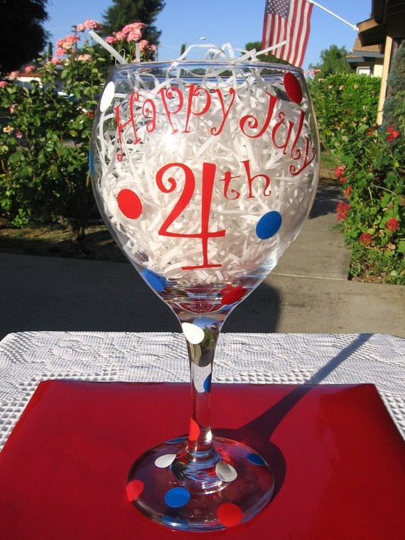 4th of July Party Glass - Vinyl Decal - Patriotic - USA - Flag - Red White & Blue - Country