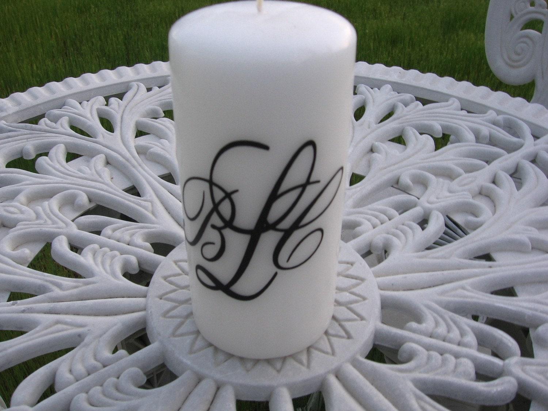 Monogrammed Candle Vinyl Decal Diy Wedding Home Decor