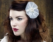 ROMANCE Bridal Collection Lace and Pearl Flower Hair Clip SALE