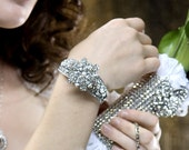 GLAMOUR Bridal Collection Rhinestone and Pearl Bracelet Cuff
