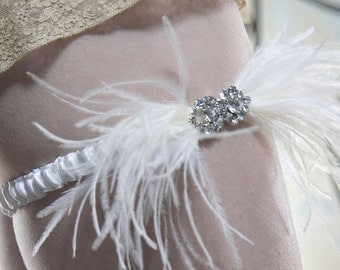 STARLET  Silk Feather and Rhinestone Garter in Ivory and Cream