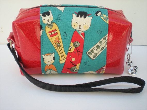 Turquoise Clutch Purse, Cat Purse, Sparkle Vinyl Bag, Mid Century Art, Red and Turquoise Bag, Japanese Kokeshi Dolls, Gift for Cat Lovers