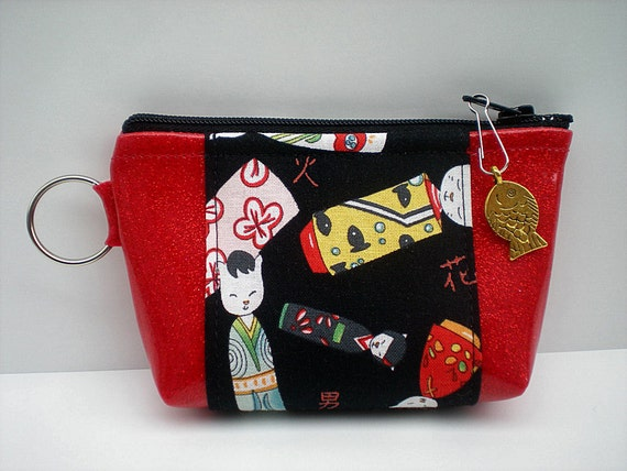 Mini Wallet, Red and Black Cat Coin Pouch,  Key Holder, ID Coin & CC Holder, Red Sparkle with Black Cat Fabric,  Kokeshi Cat Dolls, Fish